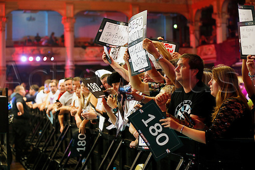 23.07.2016. Empress Ballroom, Blackpool, England. BetVictor World Matchplay Darts. Supporters with their banners