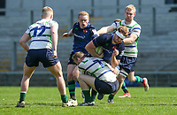 Monday 22nd April 2019 | 2019 McCrea Cup Final<br /> <br /> Remy Rees Goddard on the charge during the McCrea Cup final between Queens 2s and Grosvenor at Kingspan Stadium, Ravenhill Park, Belfast. Northern Ireland. Photo John Dickson/Dicksondigital