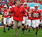 Head coach Bret Bielema leads his team onto the field at the start of the Capital One Bowl Jan 1. 2007.  The Badgers would go on to beat the Arkansas Razorbacks 17-14.<br />