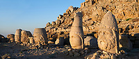 Statue heads, from right, Herekles, Apollo, Zeus, Commagene, Antiochus, & Eagle,  62 BC Royal Tomb of King Antiochus I Theos of Commagene, east Terrace, Mount Nemrut or Nemrud Dagi summit, near Adıyaman, Turkey