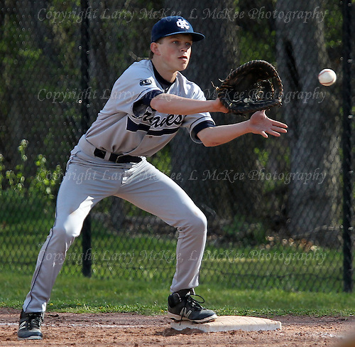 Bloomfield Hills vs Cranbrook-Kingswood, varsity baseball action at Bloomfield Hills High School Thursday, May 5, 2016. Photos: Larry McKee, L McKee Photography. PLEASE NOTE: ALL PHOTOS ARE CUSTOM CROPPED. THIS CAN CAUSE EXTRA WHITE SPACE AROUND BORDERS. BEFORE PURCHASING AN IMAGE, PLEASE CHOOSE PROPER PRINT FORMAT TO BEST FIT IMAGE DIMENSIONS.  L McKee Photography, Clarkston, Michigan. L McKee Photography, Specializing in Action Sports, Senior Portrait and Multi-Media Photography. Other L McKee Photography services include business profile, commercial, event, editorial, newspaper and magazine photography. Oakland Press Photographer. North Oakland Sports Chief Photographer. L McKee Photography, serving Oakland County, Genesee County, Livingston County and Wayne County, Michigan. L McKee Photography, specializing in high school varsity action sports and senior portrait photography.