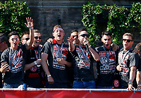 Duesseldorf, Germany, 2. Bundesliga, promotion to 1. Bundesliga of  Fortuna Duesseldorf, team celebrates at Rathausmarkt of Duesseldorf, 14.05.2018<br /> Niko GIESSELMANN (F95) 3.v. *** Local Caption *** © pixathlon<br /> Contact: +49-40-22 63 02 60 , info@pixathlon.de