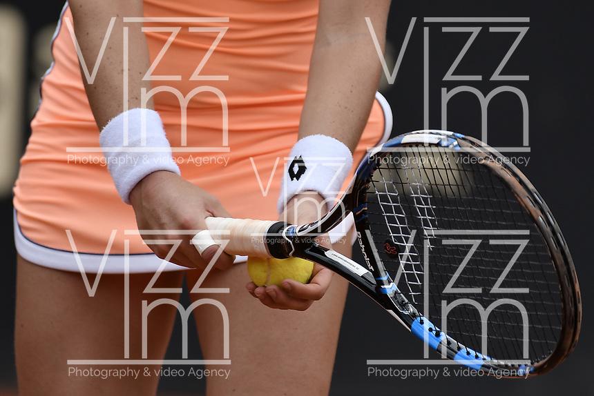 BOGOTA -COLOMBIA. 13-04-2017. Lara Arruabarrena (ESP) durante juego contra Alesksandra Krunic (SRB) de segunda ronda del Claro Open Colsanitas WTA 2017 jugado en el Club Los Lagartos en Bogota. /  Lara Arruabarrena (ESP) during match against Alesksandra Krunic (SRB) for the second round round of Claro Open Colsanitas WTA 2017 played at Club Los Lagartos in Bogota city. Photo: VizzorImage/ Gabriel Aponte / Staff