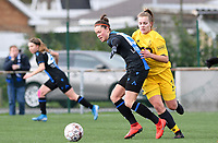 20200329 – BRUGGE, BELGIUM : Standard's Sophie Strepenne (2) pictured in a duel with Club Brugge's Charlotte Laridon during a women soccer game between Dames Club Brugge and Standard Femina de Liege on the 17 th matchday of the Belgian Superleague season 2019-2020 , the Belgian women's football  top division , saturday 29 th February 2020 at the Jan Breydelstadium – terrain 4  in Brugge  , Belgium  .  PHOTO SPORTPIX.BE | DAVID CATRY