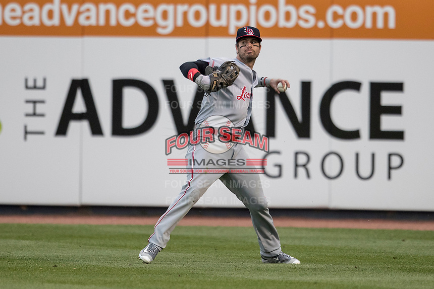 Louisville Bats outfielder Jesse Winker (23) makes a throw from the outfield against the Toledo Mud Hens during the International League baseball game on May 17, 2017 at Fifth Third Field in Toledo, Ohio. Toledo defeated Louisville 16-2. (Andrew Woolley/Four Seam Images)