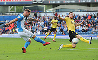 Blackburn Rovers' Adam Armstrong under pressure from Millwall's Alex Pearce<br /> <br /> Photographer Kevin Barnes/CameraSport<br /> <br /> The EFL Sky Bet Championship - Blackburn Rovers v Millwall - Saturday September 14th 2019 - Ewood Park - Blackburn<br /> <br /> World Copyright © 2019 CameraSport. All rights reserved. 43 Linden Ave. Countesthorpe. Leicester. England. LE8 5PG - Tel: +44 (0) 116 277 4147 - admin@camerasport.com - www.camerasport.com