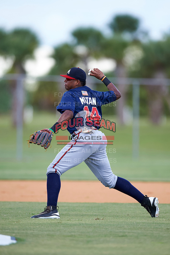 Atlanta Braves Kevin Maitan (14) during practice before an Instructional League game against the Washington Nationals on September 30, 2016 at Space Coast Stadium in Melbourne, Florida.  (Mike Janes/Four Seam Images)
