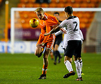Blackpool's Ewan Bange battles with Derby County's Callum Minkley<br /> <br /> Photographer Alex Dodd/CameraSport<br /> <br /> The FA Youth Cup Third Round - Blackpool U18 v Derby County U18 - Tuesday 4th December 2018 - Bloomfield Road - Blackpool<br />  <br /> World Copyright © 2018 CameraSport. All rights reserved. 43 Linden Ave. Countesthorpe. Leicester. England. LE8 5PG - Tel: +44 (0) 116 277 4147 - admin@camerasport.com - www.camerasport.com