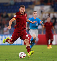 Calcio, Champions League, Gruppo E: Roma vs CSKA Mosca. Roma, stadio Olimpico, 17 settembre 2014.<br /> Roma forward Francesco Totti kicks the ball during the Group E Champions League football match between AS Roma and CSKA Moskva at Rome's Olympic stadium, 17 September 2014.<br /> UPDATE IMAGES PRESS/Isabella Bonotto