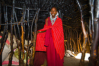 Inside a Maasai tribe hut, Manyatta village, Ngorongoro Conservation Area, Tanzania
