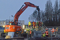 2019 03 19 Rescue operation for worker trapped in sewerage construction site, Llanelli, Wales, UK