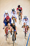 Li Ka Hei (2nd from left) of Noble Cycling Team hk competes during the Open 30km Points Race at the Hong Kong Track Cycling Race 2017 Series 5 on 18 February 2017 at the Hong Kong Velodrome in Hong Kong, China. Photo by Marcio Rodrigo Machado / Power Sport Images