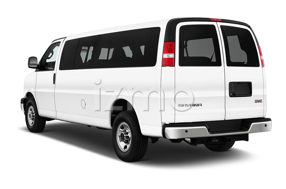 Car pictures of rear three quarter view of 2018 GMC Savana-Passenger 3500-LS-Ext 5 Door Passenger Van Angular Rear