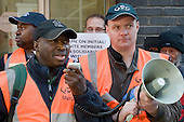 RMT picket of London offices of Initial Rentokil over exploitation of tube cleaners and misuse of immigration authorities to intimidate contract workers.