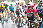 Rigoberto Uran (COL) EF-Drapac_Cannondale and Alejandro Valverde (ESP) Movistar Team get wet during Stage 11 of the La Vuelta 2018, running 207.8km from Mombuey to Ribeira Sacra. Luintra, Spain. 5th September 2018.<br /> Picture: Unipublic/Photogomezsport | Cyclefile<br /> <br /> <br /> All photos usage must carry mandatory copyright credit (&copy; Cyclefile | Unipublic/Photogomezsport)