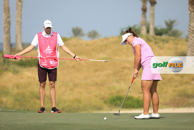 Lina Boqvist (SWE) during the first round of the Fatima Bint Mubarak Ladies Open played at Saadiyat Beach Golf Club, Abu Dhabi, UAE. 10/01/2019<br /> Picture: Golffile | Phil Inglis<br /> <br /> All photo usage must carry mandatory copyright credit (© Golffile | Phil Inglis)