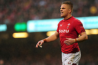 Pictured: Gareth Anscombe of Wales during the Guinness six nations match between Wales and Ireland at the Principality Stadium, Cardiff, Wales, UK.<br /> Saturday 16 March 2019