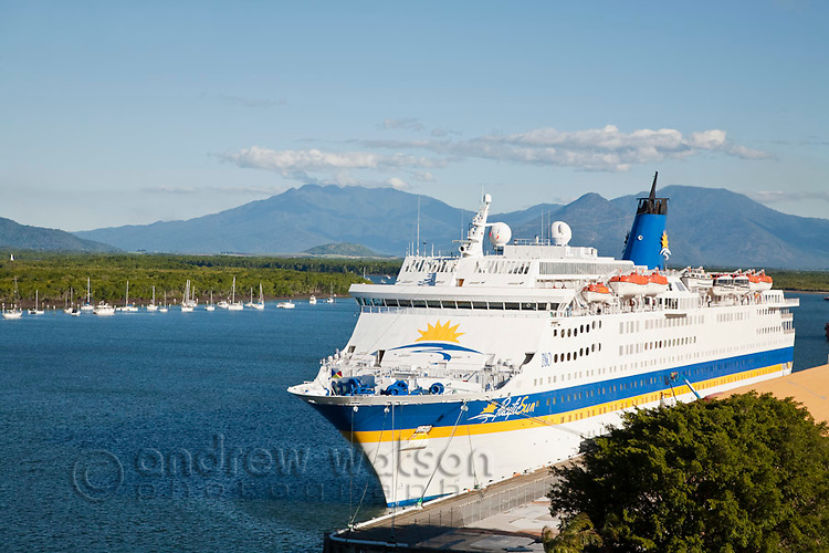 Cruise liner at Trinity Wharf with inlet in background.  Cairns, Queensland, Australia