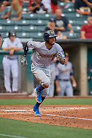Rosell Herrera (23) of the New Orleans Baby Cakes hustles to first base against the Salt Lake Bees at Smith's Ballpark on August 4, 2019 in Salt Lake City, Utah. The Baby Cakes defeated the Bees 8-2. (Stephen Smith/Four Seam Images)
