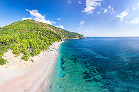 The beach Velanio of Skopelos island from drone, Greece