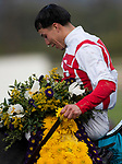 November 2, 2019: Bricks and Mortar, ridden by Irad Ortiz, Jr., wins the Longines Breeders' Cup Turf on Breeders' Cup World Championship Saturday at Santa Anita Park on November 2, 2019: in Arcadia, California. Carolyn Simancik/Eclipse Sportswire/CSM