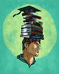 Illustrative image of determined male student with stack of books on head representing career