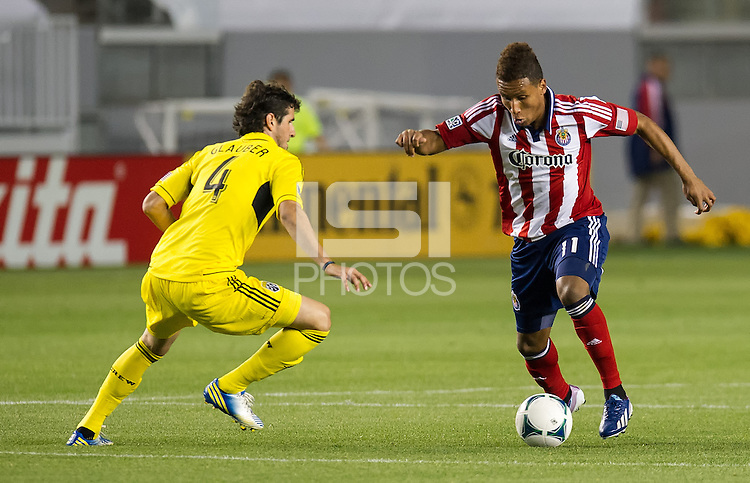 CARSON, CA - March 2, 2013: Chivas forward Juan Agudelo (11) during the Chivas USA vs Columbus Crew match at the Home Depot Center in Carson, California. Final score, Chivas USA 0, Columbus Crew 3.