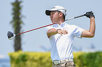 Terrence NG (HKG) watches his tee shot on 12 during Rd 1 of the Asia-Pacific Amateur Championship, Sentosa Golf Club, Singapore. 10/4/2018.<br /> Picture: Golffile | Ken Murray<br /> <br /> <br /> All photo usage must carry mandatory copyright credit (&copy; Golffile | Ken Murray)