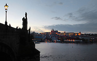 Prague Castle and the Mala Strana district seen across the Vltava river, with the Charles Bridge or Karluv most, built 1357 - 15th century, on the left, Prague, Czech Republic. The historic centre of Prague was declared a UNESCO World Heritage Site in 1992. Picture by Manuel Cohen