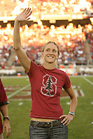 3 November 2007: Kate Starbird during the Stanford Hall of Fame induction introductions during Stanford's 27-9 loss to the University of Washington at Stanford Stadium in Stanford, CA.