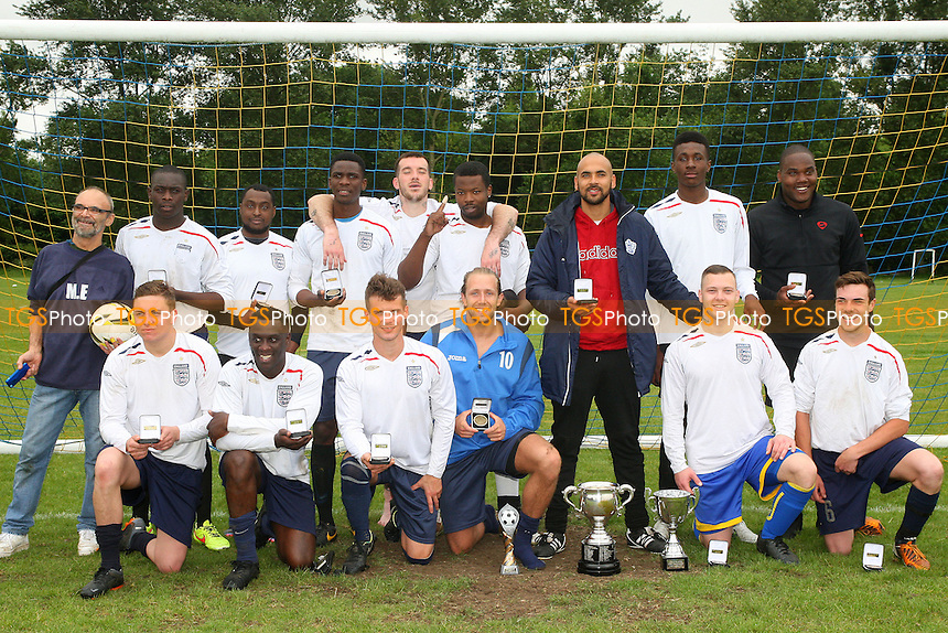 Mile End celebrate the victory - Mustard (orange) vs Mile End (white) - Hackney & Leyton Sunday League Jack Walpole Cup Final Football at South Marsh, Hackney Marshes, London - on 31/05/15 - MANDATORY CREDIT: Dave Simpson/TGSPHOTO - Self billing applies where appropriate - 0845 094 6026 - contact@tgsphoto.co.uk - NO UNPAID USE