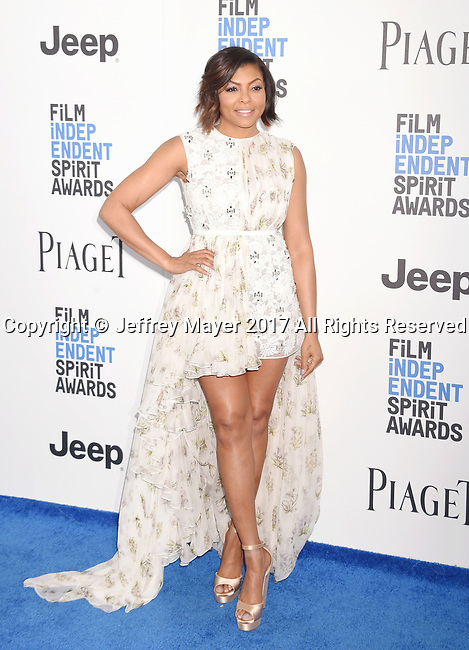 SANTA MONICA, CA - FEBRUARY 25: Actress Taraji P. Henson attends the 2017 Film Independent Spirit Awards at the Santa Monica Pier on February 25, 2017 in Santa Monica, California.