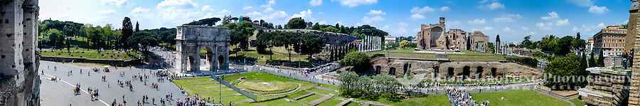 Italy, Rome. Panorama from Colosseum, with Arch of Constantine and Forum Romanum.