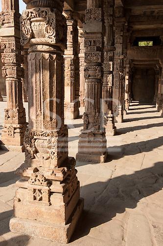 Delhi, India. Quwwat-ul-Islam Mosque in the  Qutub Minar complex. Carved columns.