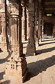 Delhi, India. Quwwat-ul-Islam Mosque in the  Qutub Minar complex. Carved columns.