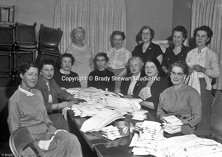 Mt Lebanon PA:  View of the Cancer Group at the Sunset Hills United Presbyterian Church on Country Club Road - 1957. Sarah Stewart, wife of Brady Stewart white blouse in the rear, was very involved in the group due to losing  her oldest daughter to breast cancer.