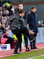 26th January 2020, Tynecastle Park, Edinburgh, Scotland; Scottish Premier League football, Hearts of Midlothian versus Rangers; Daniel Stendel manager of Hearts gestures to the referee