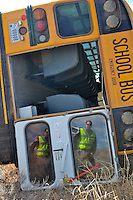 An elementary school bus heading north on Arizona 191 rolls over Thursday February 17.  The bus driver and the 14 children onboard suffered only minor injuries.