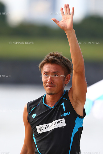Koichi Nishimura,<br /> SEPTEMBER 21, 2015 - Beach Volleyball : <br /> JBV Tour 2015 Tokyo Open<br /> Men's Final<br /> at Odaiba Beach, Tokyo, Japan.<br /> (Photo by Shingo Ito/AFLO SPORT)