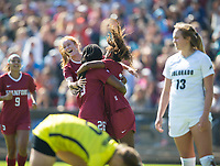 STANFORD, CA - October 21, 2018: Beattie Goad, Madison Haley, Catarina Macario at Laird Q. Cagan Stadium. No. 1 Stanford Cardinal defeated No. 15 Colorado Buffaloes 7-0 on Senior Day.