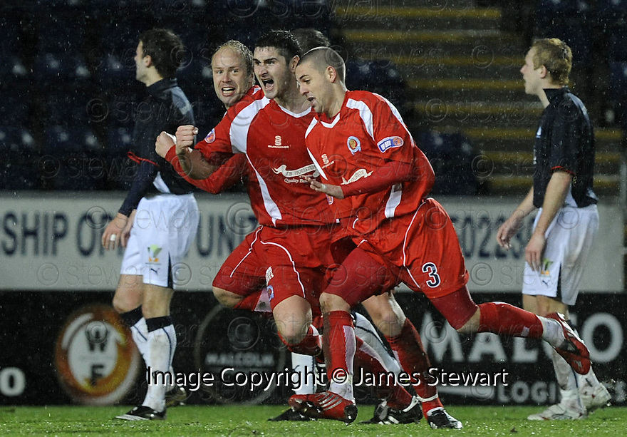 10/01/2009  Copyright Pic: James Stewart.File Name : sct_jspa32_falkirk_v_qots.ROBERT HARRIS CELEBRATES ATER HE SCORES QUEEN OF THE SOUTH'S SECOND.James Stewart Photo Agency 19 Carronlea Drive, Falkirk. FK2 8DN      Vat Reg No. 607 6932 25.Studio      : +44 (0)1324 611191 .Mobile      : +44 (0)7721 416997.E-mail  :  jim@jspa.co.uk.If you require further information then contact Jim Stewart on any of the numbers above.........