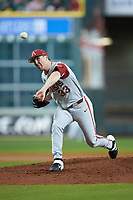 Arkansas Razorbacks starting pitcher Patrick Wicklander (33) delivers a pitch to the plate against the Texas Longhorns in game six of the 2020 Shriners Hospitals for Children College Classic at Minute Maid Park on February 28, 2020 in Houston, Texas. The Longhorns defeated the Razorbacks 8-7. (Brian Westerholt/Four Seam Images)
