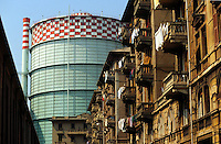 - Genoa, installations of steel factory ILVA behind popular houses....- Genova, gli impianti delle acciaierie ILVA dietro case popolari