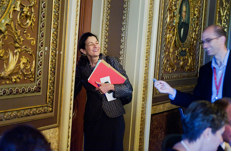 UNITED STATES - MAY 17:  Sen. Olympia Snowe, R-Me., shares a laugh with a reporter upon arrival at the senate republican policy luncheons in the Capitol. (Photo By Tom Williams/Roll Call)