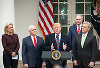 United States President Donald J. Trump makes a statement following his meeting with Democratic leaders in the Situation Room of the White House in Washington, DC in an effort to break the political impasse on border security and reopen the federal government on Friday, January 4, 2018.  The President also took questions from reporters.<br /> Credit: Ron Sachs / CNP/AdMedia/AdMedia
