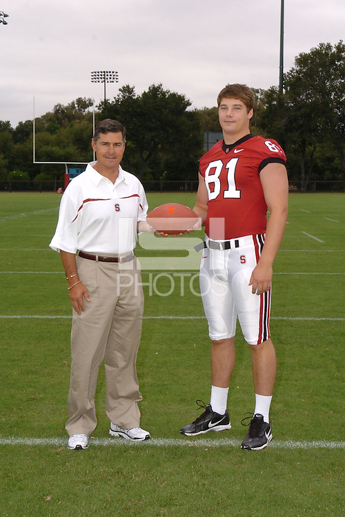7 August 2006: Stanford Cardinal head coach Walt Harris and Patrick Bowe during Stanford Football's Team Photo Day at Stanford Football's Practice Field in Stanford, CA.
