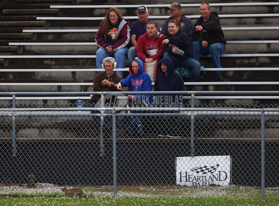 May 19, 2017; Topeka, KS, USA; NHRA fans in the grandstands react as a rabbit runs past during qualifying for the Heartland Nationals at Heartland Park Topeka. Mandatory Credit: Mark J. Rebilas-USA TODAY Sports