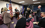 U.S. Senate Majority Leader Harry Reid answers media questions after addressing the Legislature, in Carson City, Nev., on Wednesday, Feb. 20, 2013. .Photo by Cathleen Allison