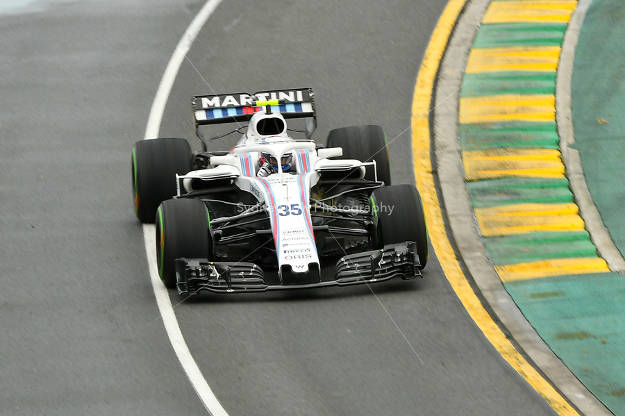 March 24, 2018: Sergey Sirotkin (RUS) #35 from the Williams Martini Racing team during practice session three at the 2018 Australian Formula One Grand Prix at Albert Park, Melbourne, Australia. Photo Sydney Low