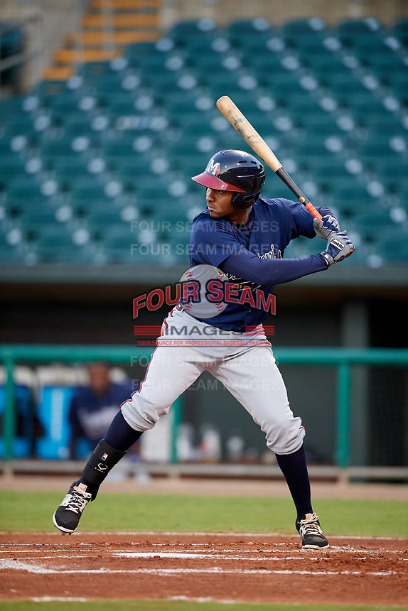 Mississippi Braves designated hitter Carlos Franco (13) at bat during a game against the Montgomery Biscuits on April 24, 2017 at Montgomery Riverwalk Stadium in Montgomery, Alabama.  Montgomery defeated Mississippi 3-2.  (Mike Janes/Four Seam Images)